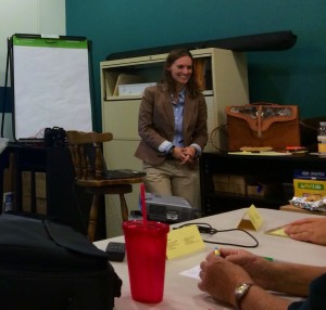 Aiken Technical College instructor Dr. Katie Comerford teaches ACAS employees at the shelter's facility on Wire Road.