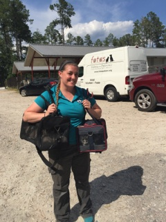 ACAS ADOPTION COORDINATOR TRACI DEADERICK CARRIES KITTENS FOR TRANSPORT TO NORTHEAST RESCUE.