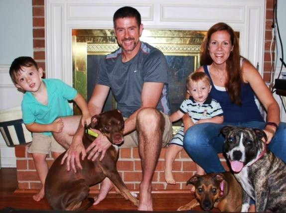 The Kilbreth family and their Bully mix dogs – Evie May, Rock and Ava Rae.