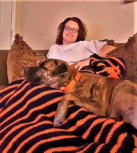 Connie Williams and Hugo, her adopted Mastiff/Retriever