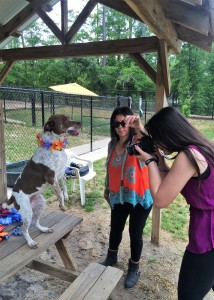 Olga gets the attention of Shelter dog Ginger so her daughter, Nicole, can capture some great candids of the cute Pointer mix.