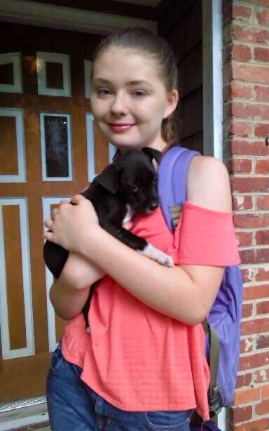 ella dietzel with pup august