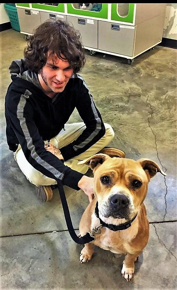 John Jackson adopts Hannah at the County Animal Shelter