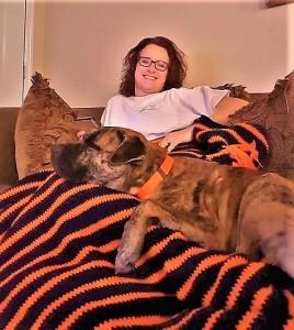 Connie Williams and Hugo, her adopted Mastiff/Retriever