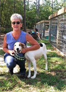 Birgit Derrick fosters a hound from the County Shelter.