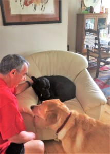 Jeff Martin and Yellow Retriever Nala help Keegan feel welcome in his new home.
